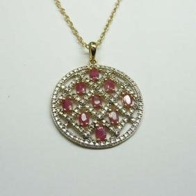 Open Work Ruby Vermile Sterling Silver Medallion