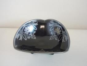 Art Nouveau Sterling Silver Overlay Black Amethyst Art