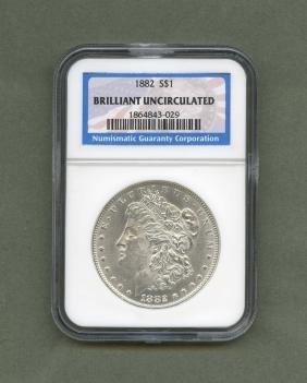 1882 S1 Morgan Silver Dollar Brilliant Uncirculated NGC