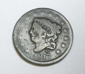 1817 Coronet Head Large One Cent, 15 stars, Full