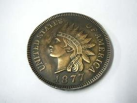 1877 Indian Head Penny Brass Belt Buckle United States
