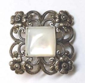 Sterling Silver Marcasite Floral Mother of Pearl Brooch