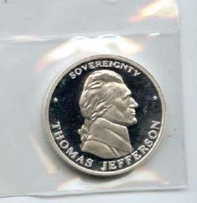 1994 Liberty Lobby Jefferson Shield 1 Troy Oz 999