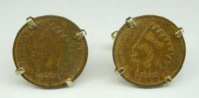Swank 1899 and 1900 American Indian Head Penny Gold