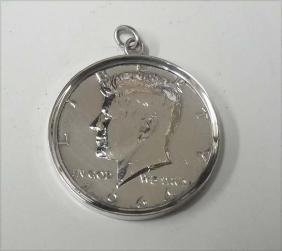 1964 Silver JFK Kennedy Half Dollar Pendant Charm in