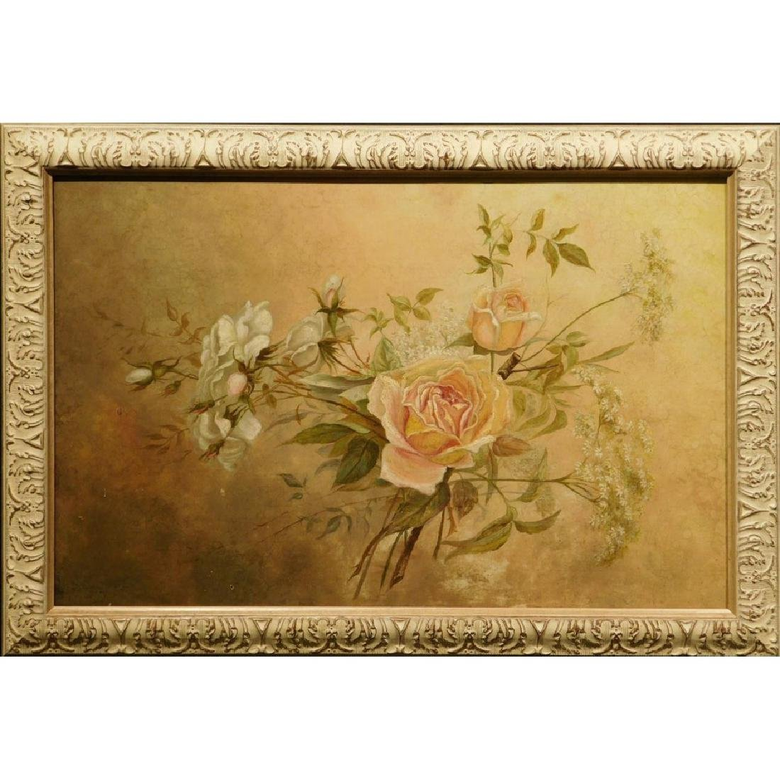 Victorian Roses & Queen Anne's Lace Oil Painting
