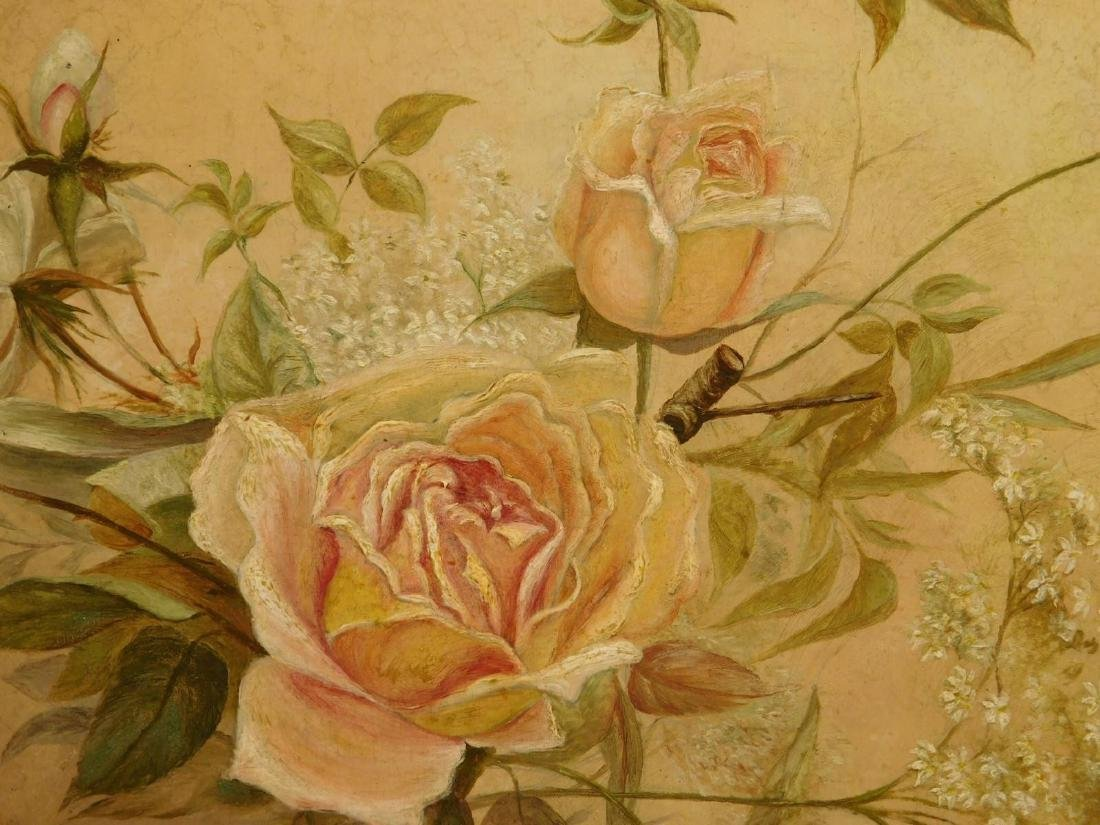 Victorian Roses & Queen Anne's Lace Oil Painting - 2