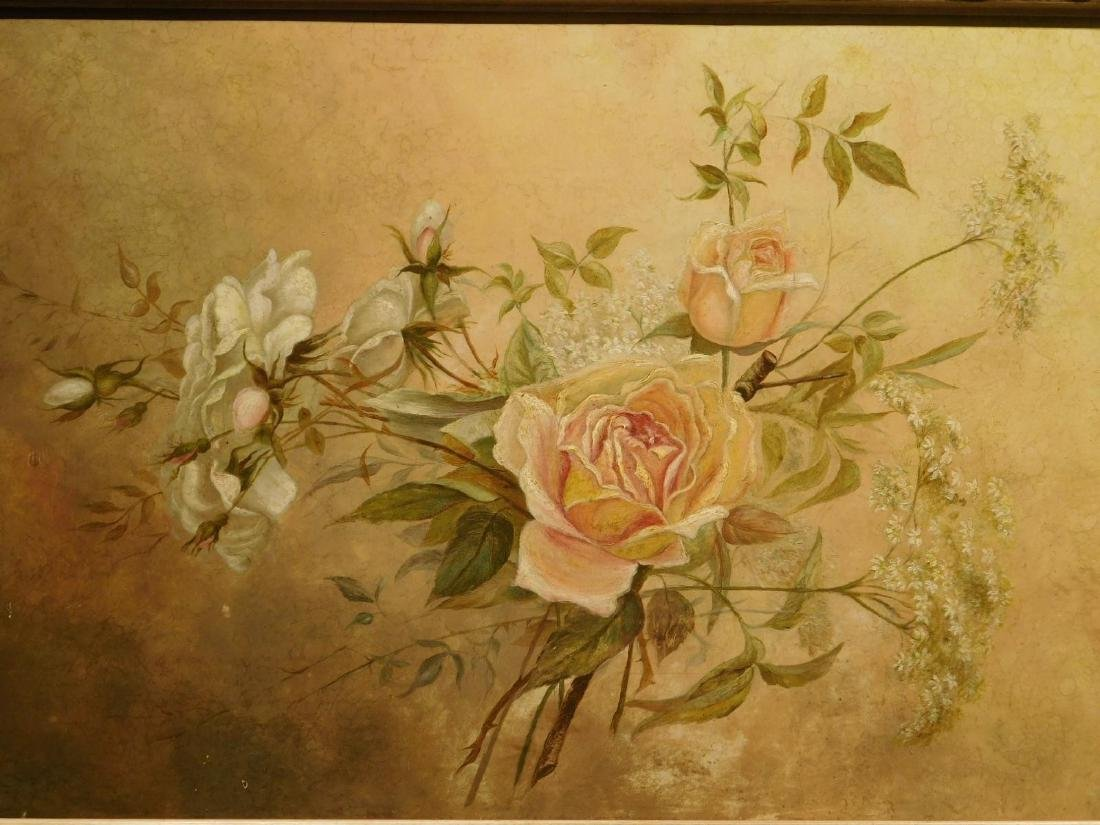 Victorian Roses & Queen Anne's Lace Oil Painting - 3