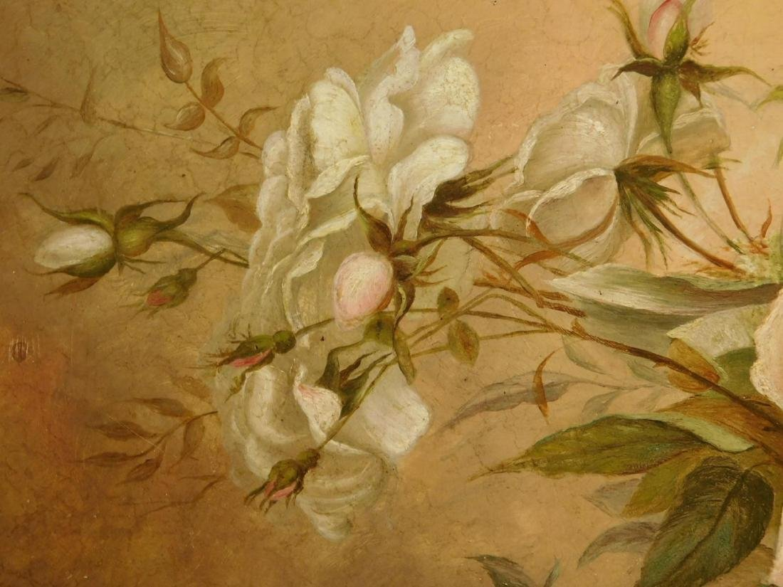 Victorian Roses & Queen Anne's Lace Oil Painting - 4