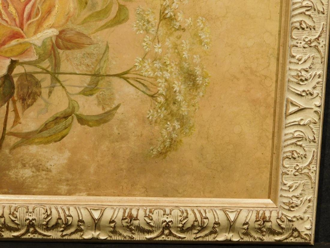 Victorian Roses & Queen Anne's Lace Oil Painting - 5
