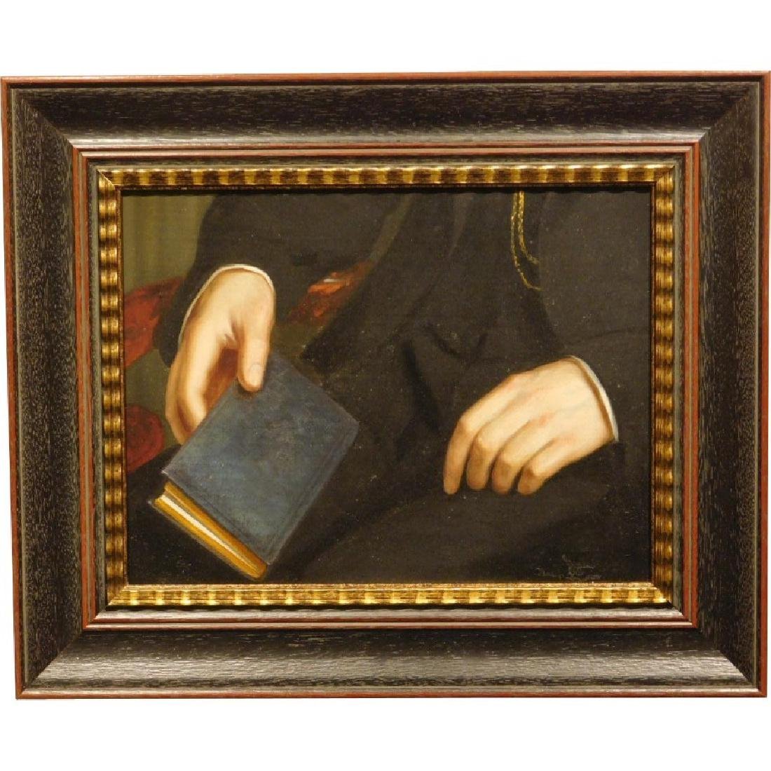 Hands and Book, Antique oil painting fragment