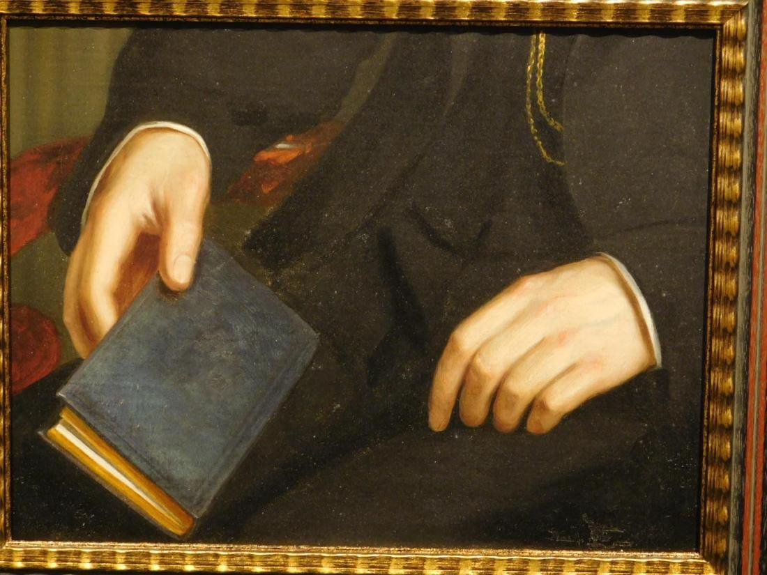 Hands and Book, Antique oil painting fragment - 2