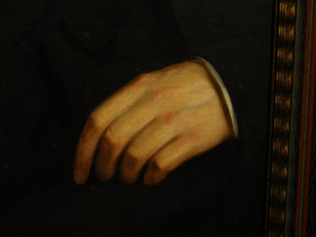 Hands and Book, Antique oil painting fragment - 4