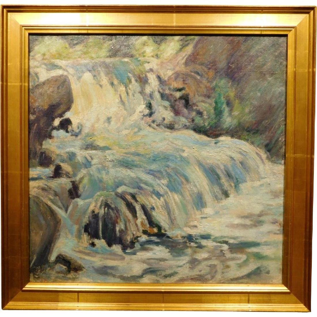 E.A.Barck, Waterfall oil painting c. 1940