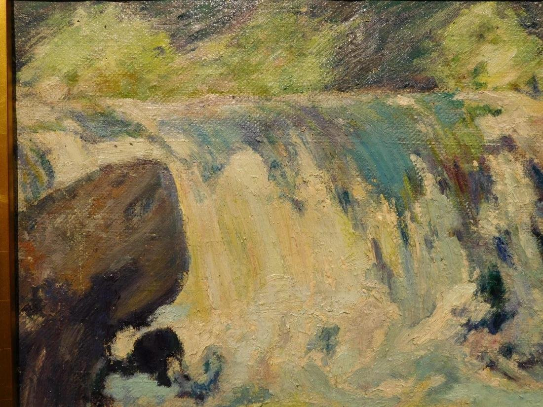 E.A.Barck, Waterfall oil painting c. 1940 - 2
