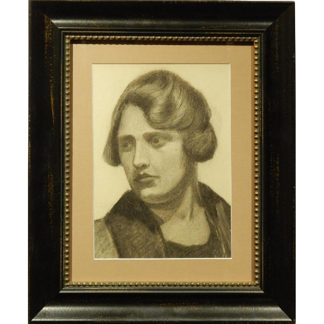 Boston School Charcoal Portrait Of A Woman c.1930