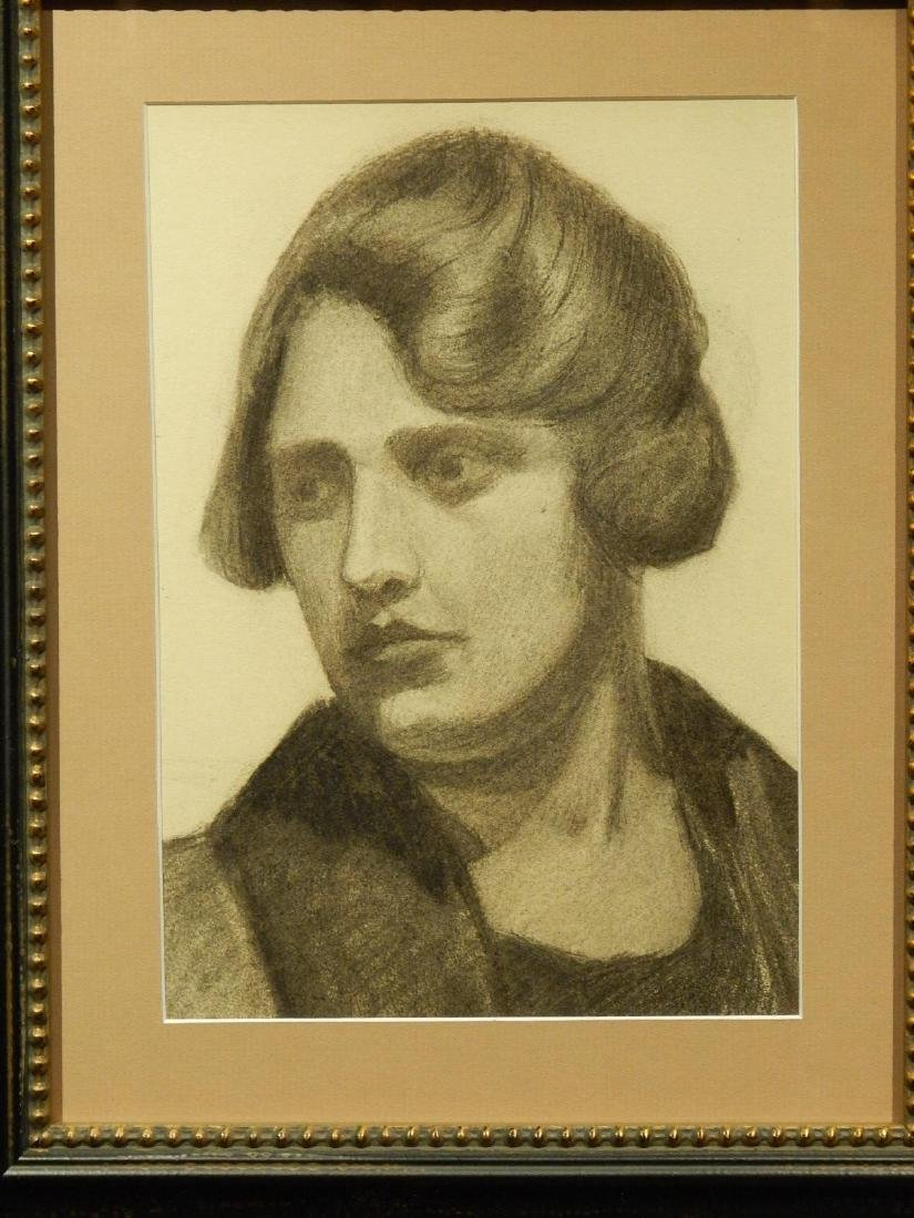 Boston School Charcoal Portrait Of A Woman c.1930 - 3