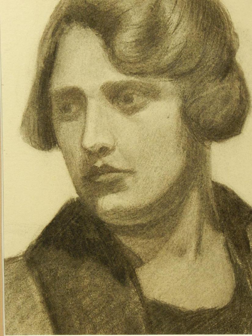 Boston School Charcoal Portrait Of A Woman c.1930 - 4