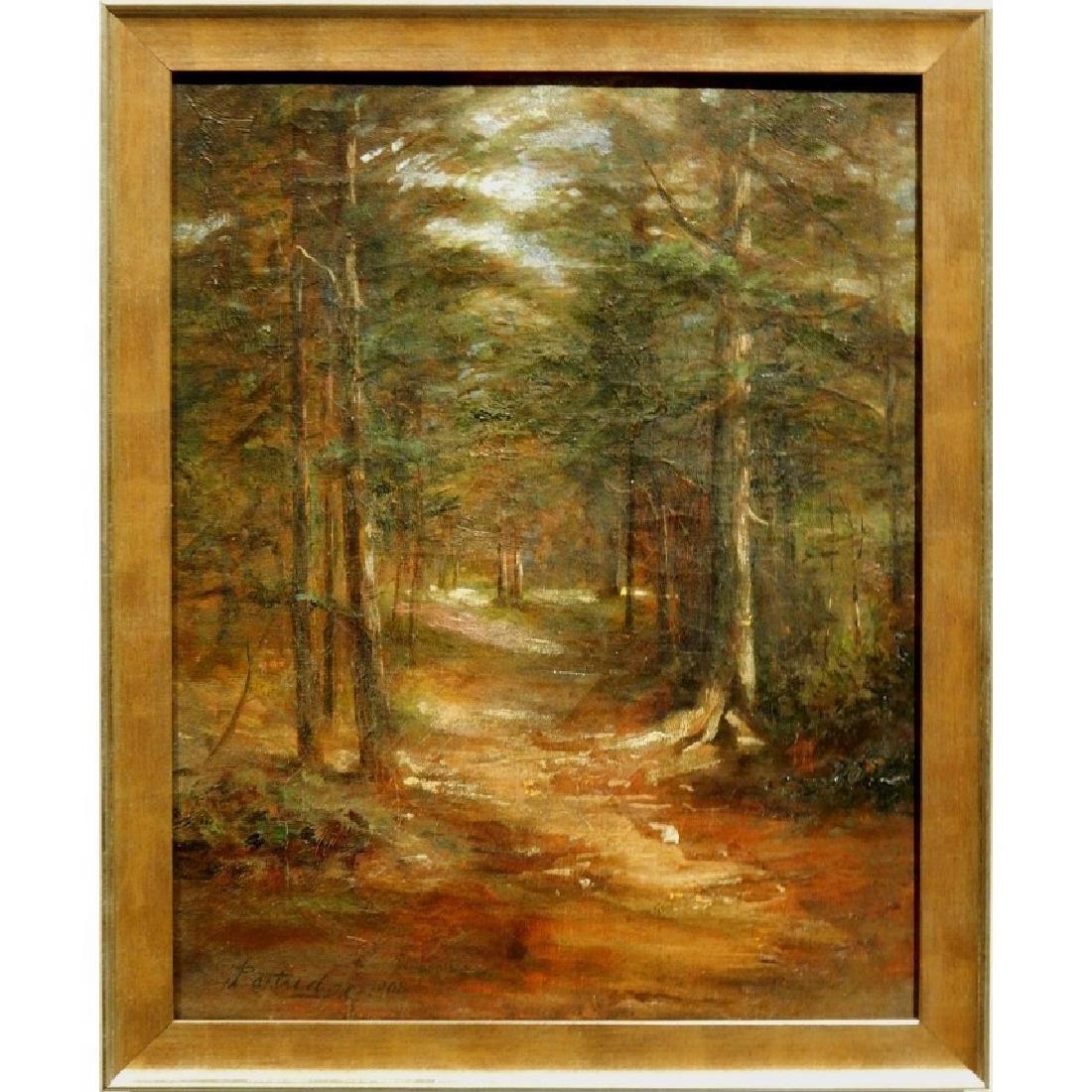 Sunlit Woodland Path 1908 Oil Painting Signed Partridge
