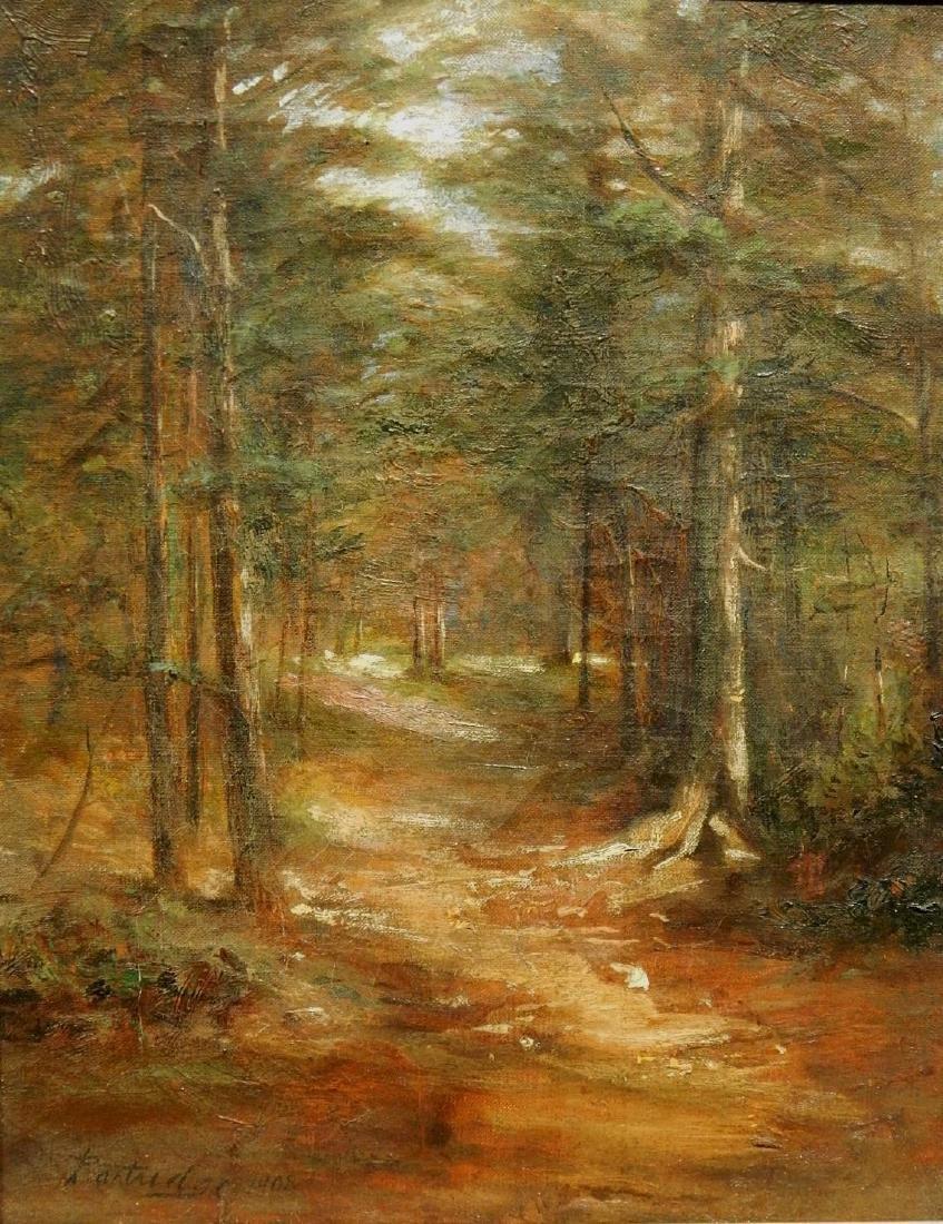 Sunlit Woodland Path 1908 Oil Painting Signed Partridge - 2