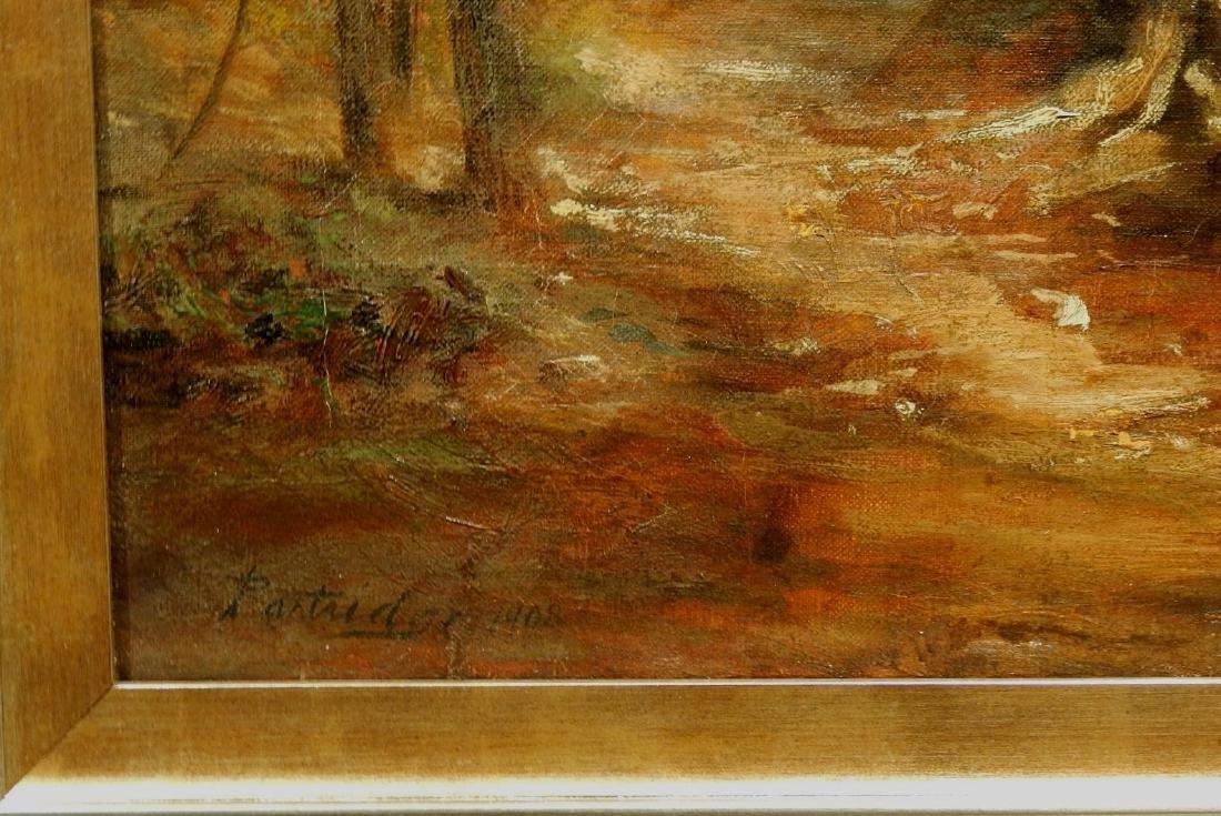 Sunlit Woodland Path 1908 Oil Painting Signed Partridge - 4