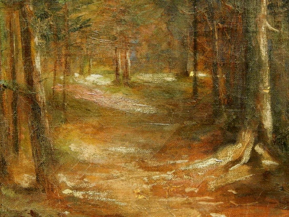 Sunlit Woodland Path 1908 Oil Painting Signed Partridge - 6