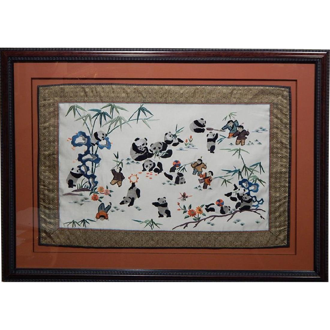 Framed Chinese Panda Silk Embroidery