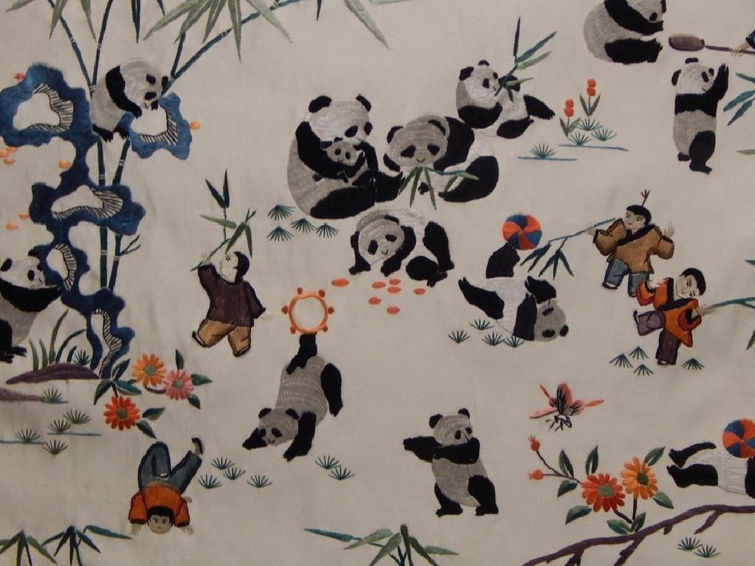 Framed Chinese Panda Silk Embroidery - 4