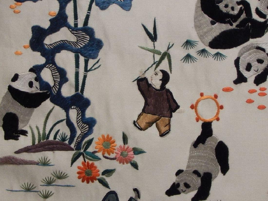 Framed Chinese Panda Silk Embroidery - 5