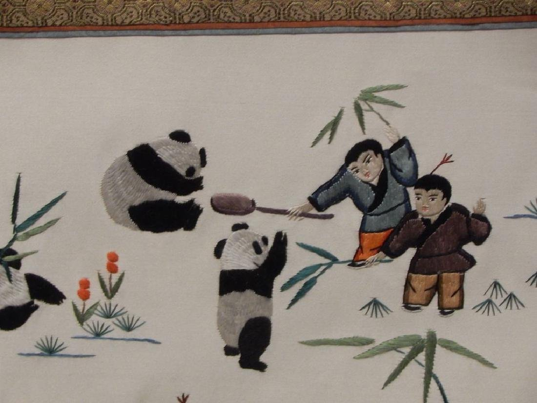 Framed Chinese Panda Silk Embroidery - 6
