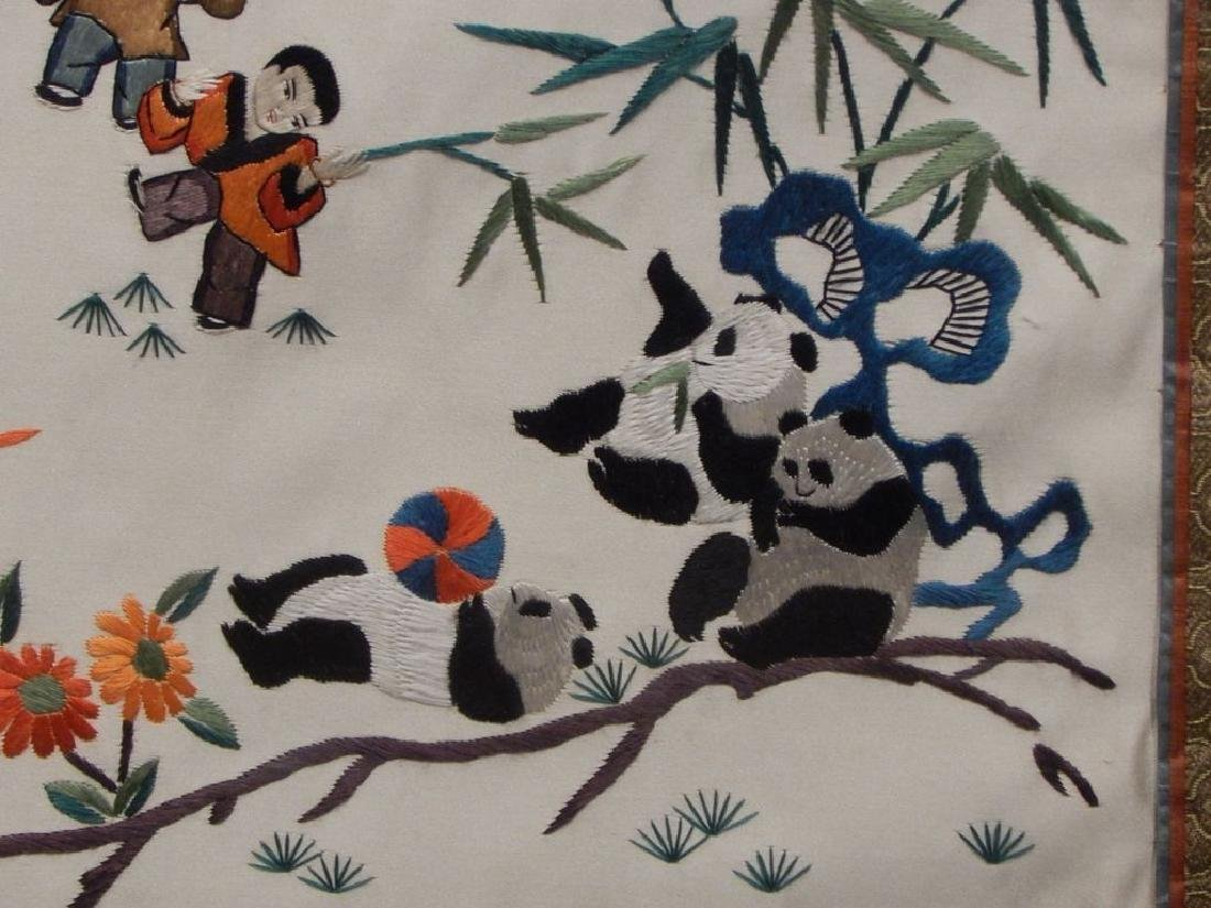 Framed Chinese Panda Silk Embroidery - 7