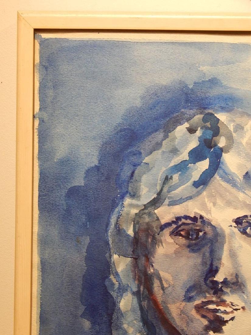 Blue Woman Watercolor Portrait By S. Miller - 2