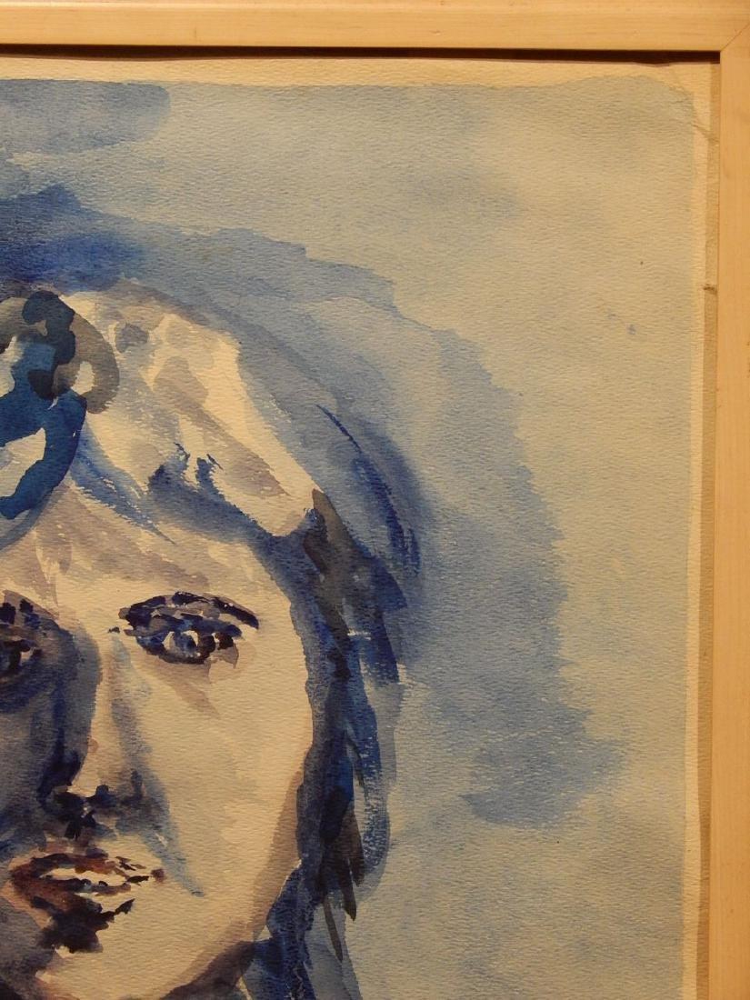 Blue Woman Watercolor Portrait By S. Miller - 3