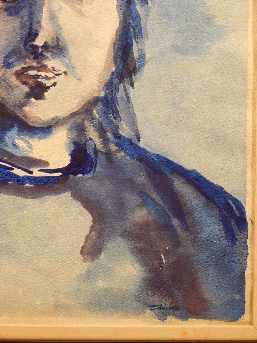 Blue Woman Watercolor Portrait By S. Miller - 4