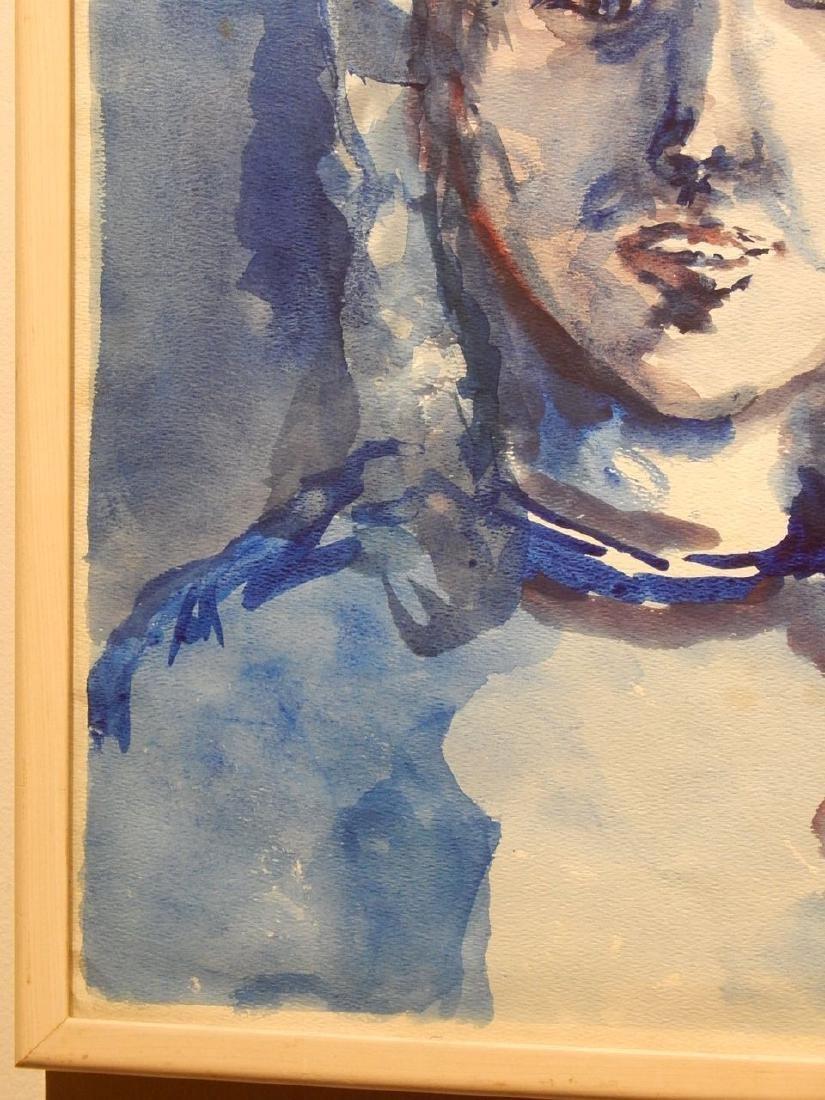 Blue Woman Watercolor Portrait By S. Miller - 5