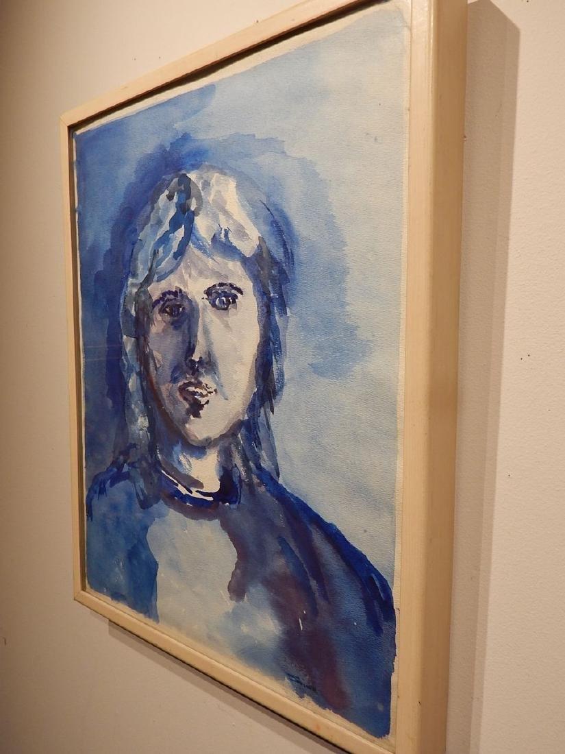 Blue Woman Watercolor Portrait By S. Miller - 6