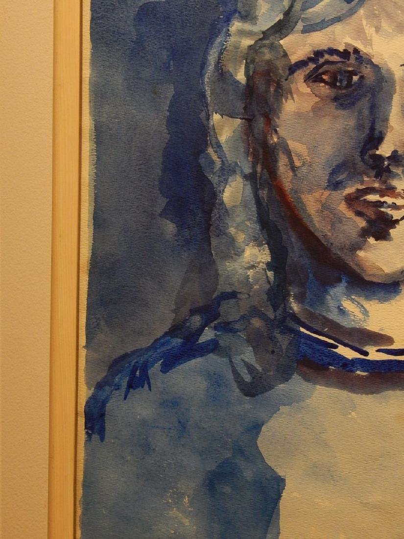 Blue Woman Watercolor Portrait By S. Miller - 8