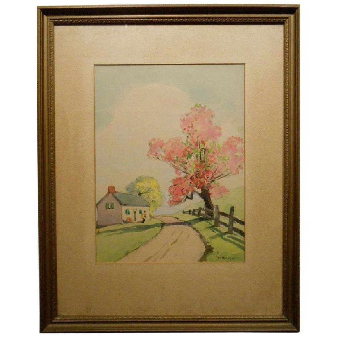 1920's Springtime Watercolor Signed Royer