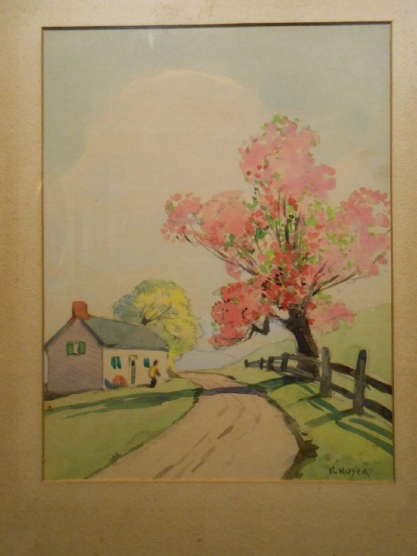 1920's Springtime Watercolor Signed Royer - 2