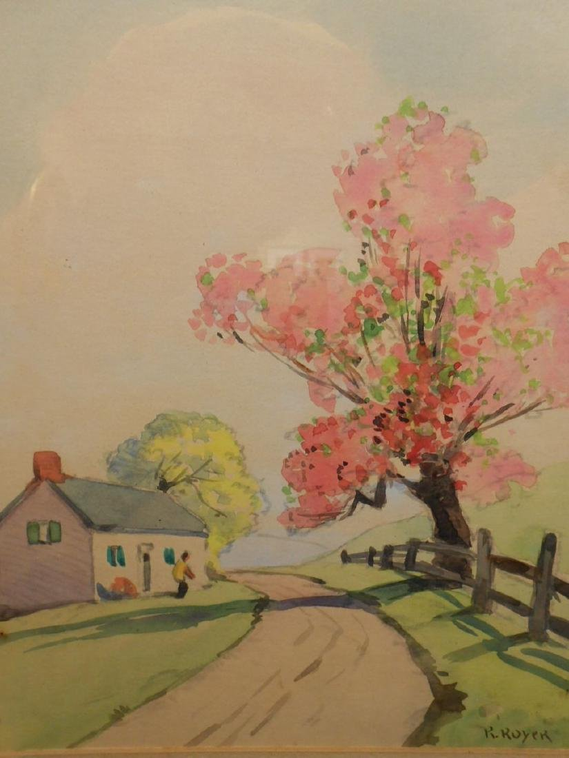 1920's Springtime Watercolor Signed Royer - 3