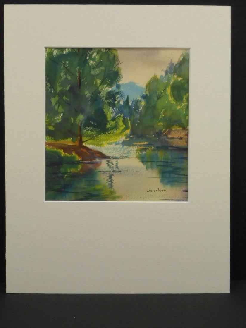Summer Pond Landscape Watercolor Signed Massachusetts