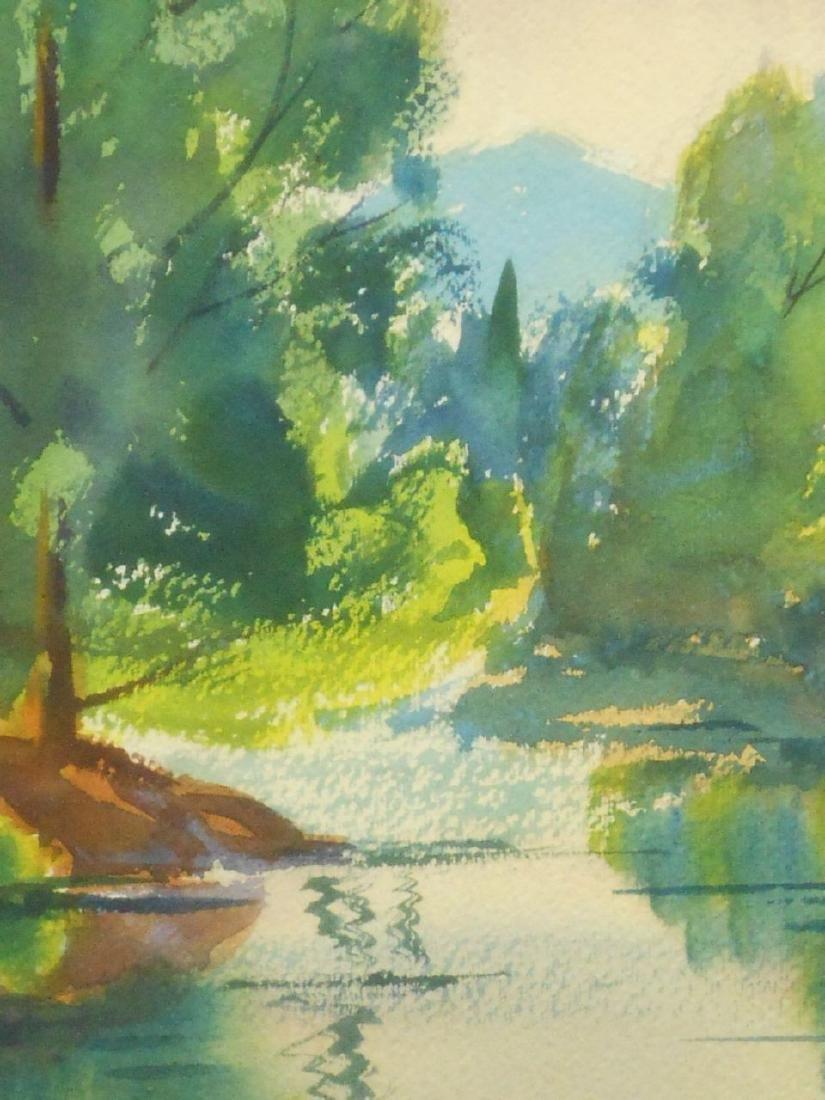 Summer Pond Landscape Watercolor Signed Massachusetts - 2