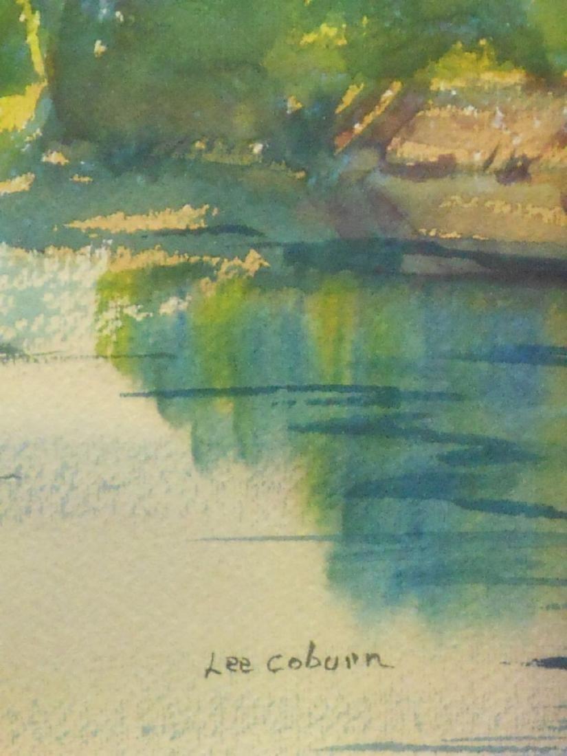 Summer Pond Landscape Watercolor Signed Massachusetts - 3