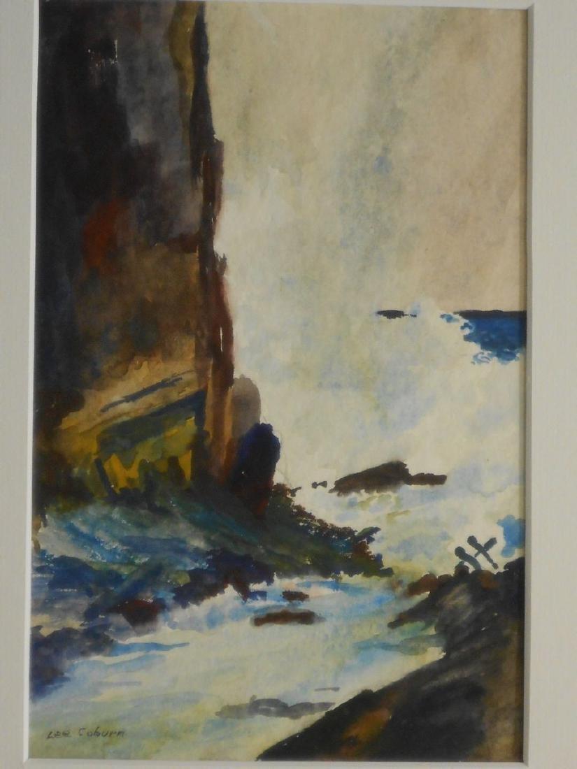 Maine Seacoast Surf Crashing On Rocky Shore Watercolor