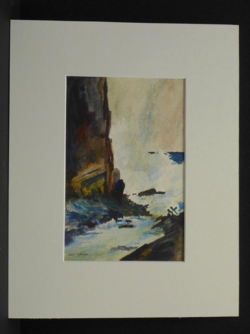 Maine Seacoast Surf Crashing On Rocky Shore Watercolor - 2