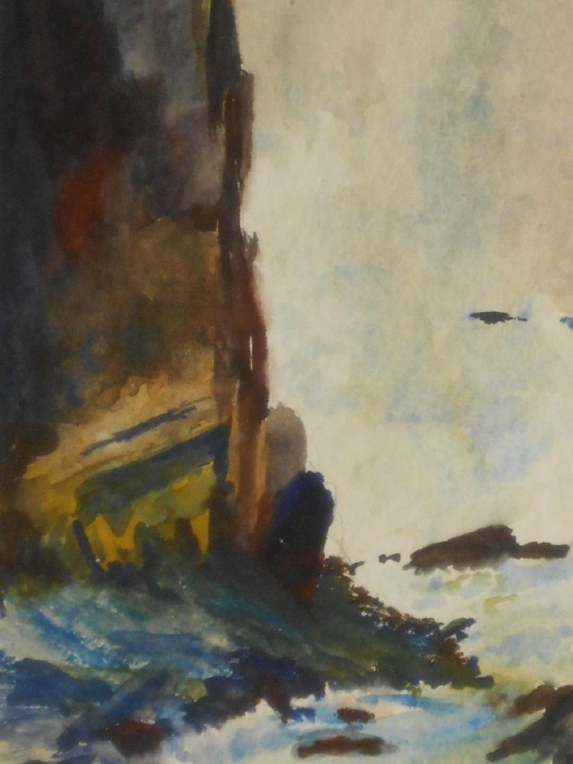 Maine Seacoast Surf Crashing On Rocky Shore Watercolor - 3