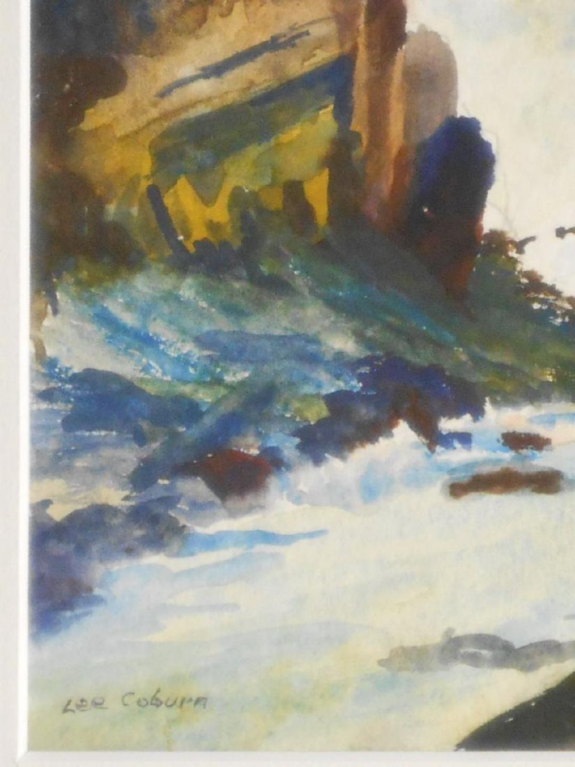 Maine Seacoast Surf Crashing On Rocky Shore Watercolor - 4