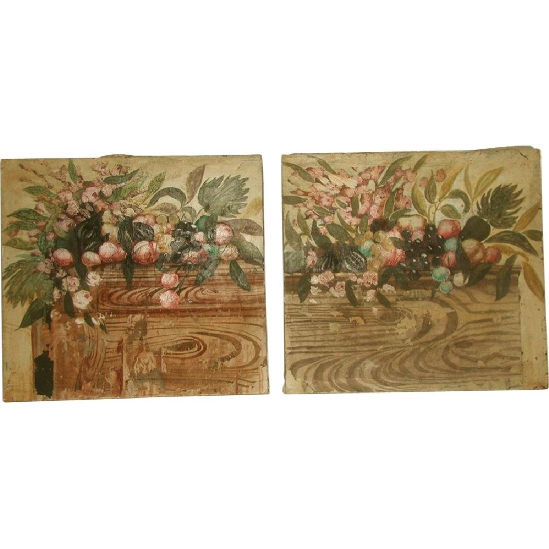 Matching Oil Paintings Unframed Pair On Canvas Early