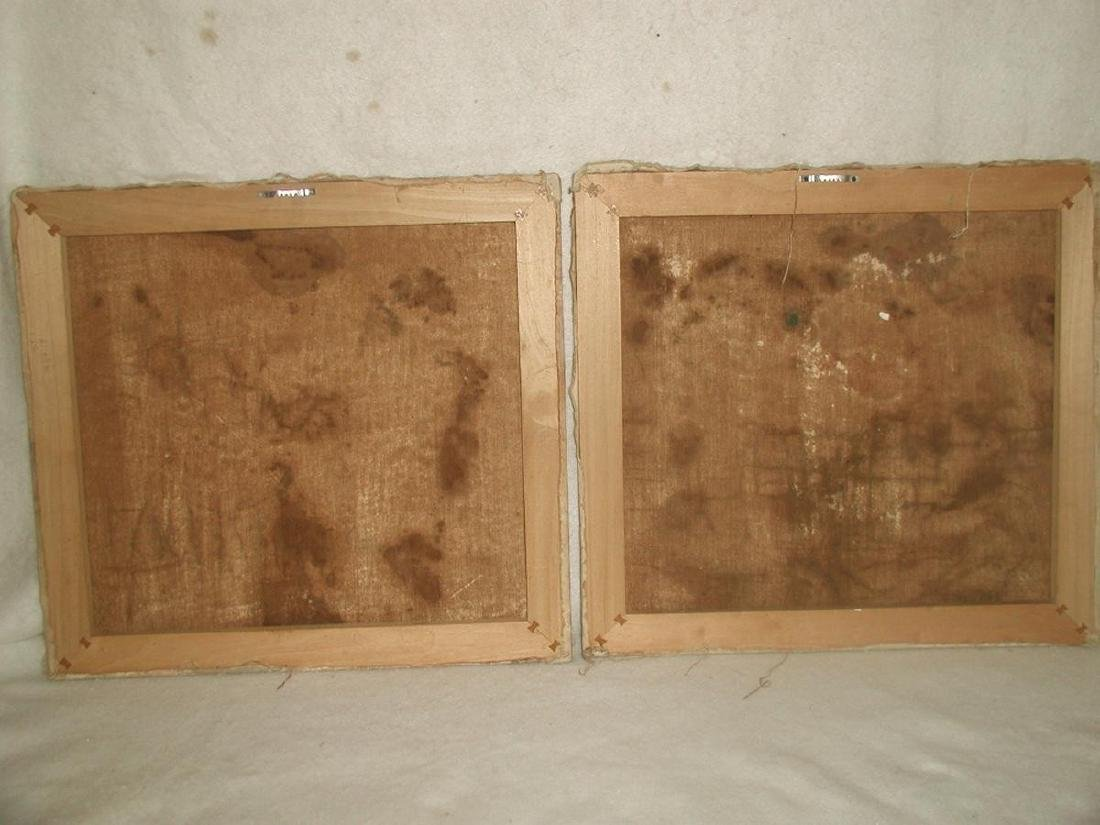 Matching Oil Paintings Unframed Pair On Canvas Early - 5