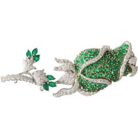 Emerald Diamond Flower Brooch | 18K Bicolor Gold |